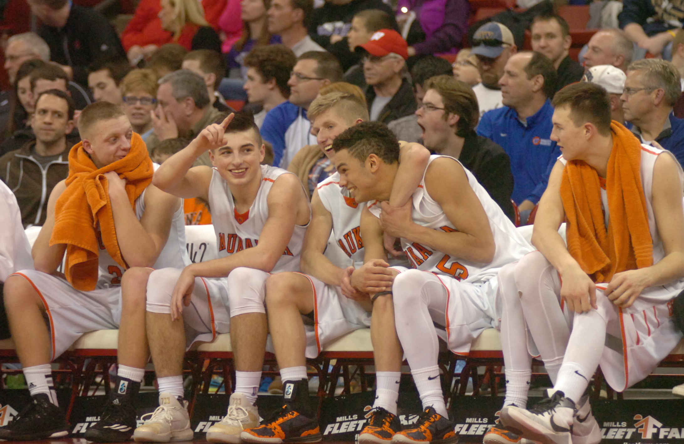 Kaukauna starts to celebrate in the closing minutes of the WIAA Division 2 championship game. Dan Plutchak/photo