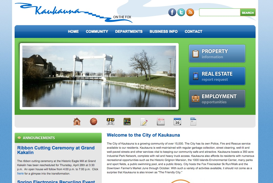 The city of Kaukauna website will be redesigned later in 2016