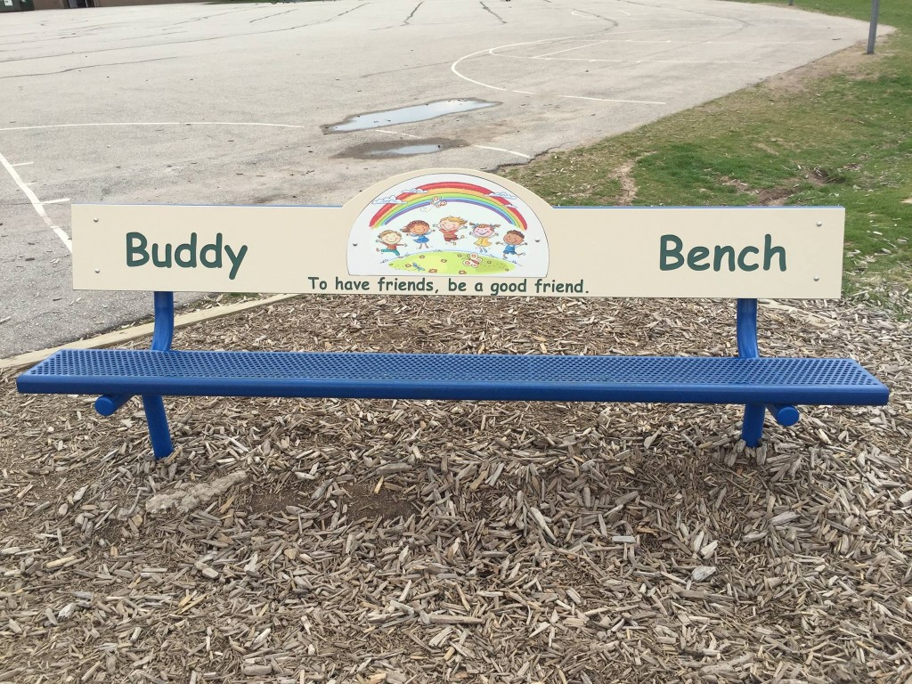 The Buddy Bench at Electa Quinney school. Carrie Forster photo.