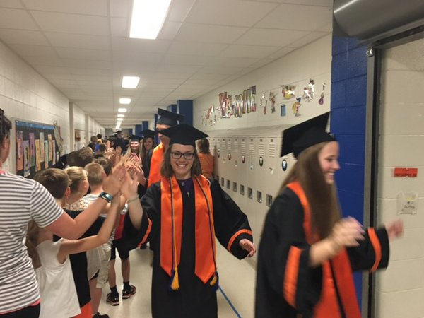 On Tuesday, May 24, 2016 Kaukauna High School seniors donned their caps and gowns and took to the halls of their former elementary schools on their first-annual Cap and Gown tour.Photo posted @KaukaunaSD on Twitter
