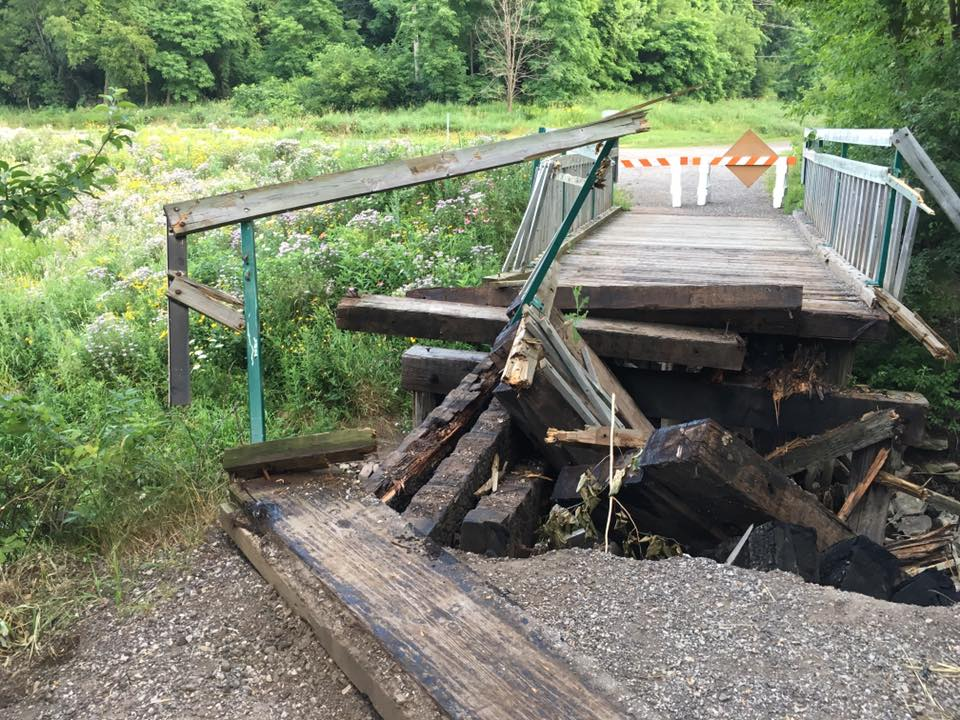 The damaged trestle bridge over Konkapot Creek. Photo by Karen Vangsness Trom‎