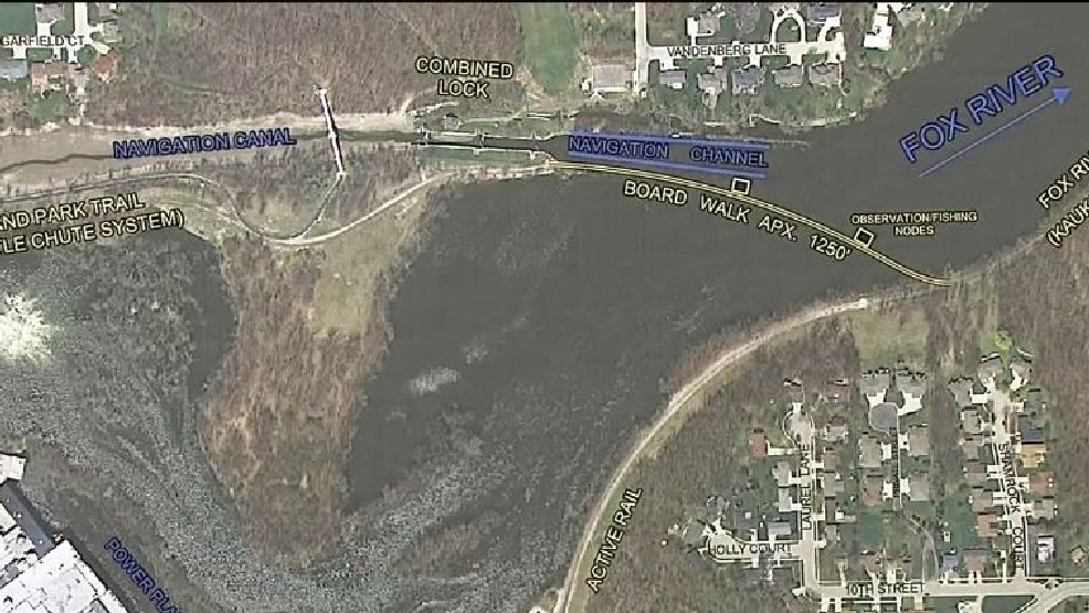 Kaukauna and Little Chute officials are proposing a quarter-mile long trail bridge that would cross the Fox River and link Little Chute's existing trail with a Kaukauna trail to be built along an abandoned rail line, September 12, 2016. (WLUK video)