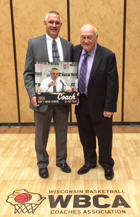 Coach Mike Schalow with WBCA Executive Director Jerry Petitgoue in October 2016.