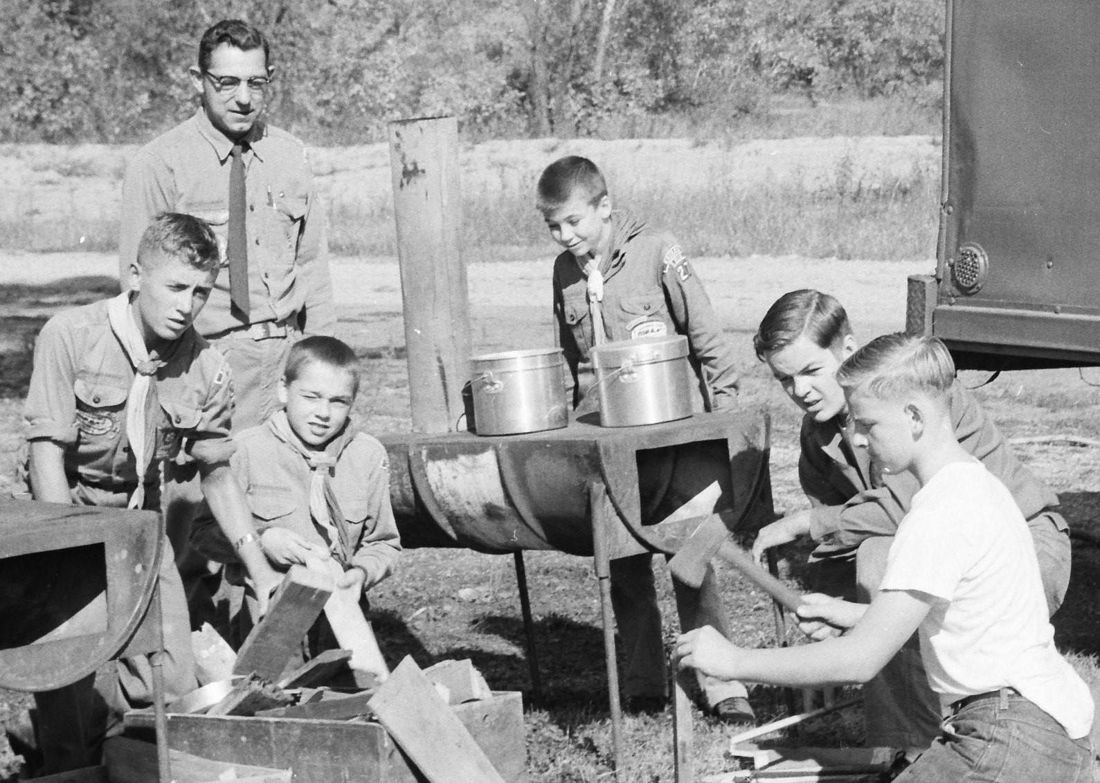November 1960 - Camporees Field Days – Boy Scout Troop 27 sponsored by St. Mary's activities this fall. Left to right the group includes Bill Niesen, assistant leader Howard Veldman, Dan Nagan, Dennis Kern, Bob Steffens and Roger Mets.