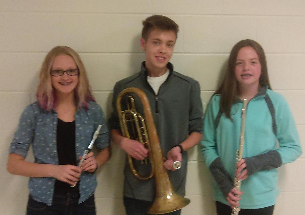 Taylor Nowak, Peter Lison and Emma Momberg, have been selected for the UW Milwaukee Middle School Honors Band Festival.