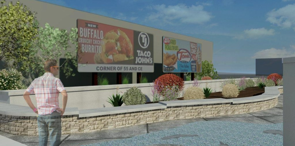 Artist's rendering of improvements to the empty lot at Crooks Avenue and Second Street in Kaukauna.