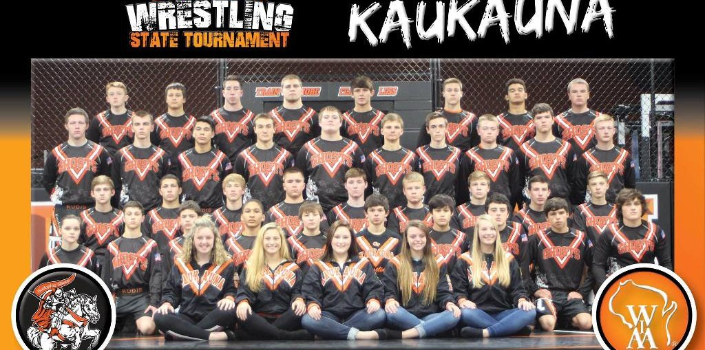2017 Kaukauna Ghosts WIAA state qualifying wrestling team.