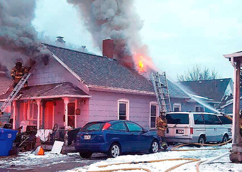 Firefighters knock down a house fire on Crooks Avenue March 5, 2017. Kaukauna Fire Department photo.