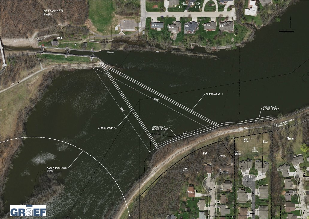 Two routes identified by a consultant for a proposed boardwalk over the Fox River between Kaukauna and Little Chute.