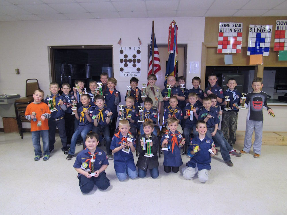 Kaukauna Cub Scout Pack 3104 held its pinewood derby race Saturday with more than 40 cars competing. Pack 3104 photo.