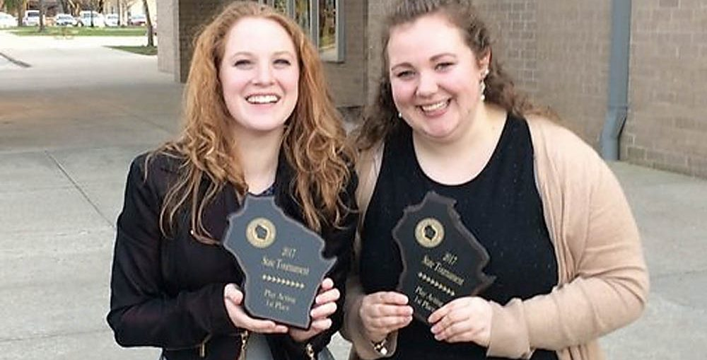 Mikenna Buchinger and Julia Holschuh, winners of a state WFCA forensics award. KASD photo.