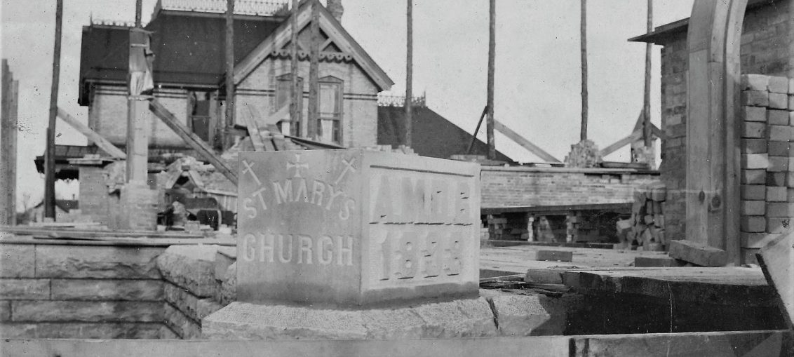 The corner stone for the new St. Mary's Church was set in 1898. Kaukauna Times photo.