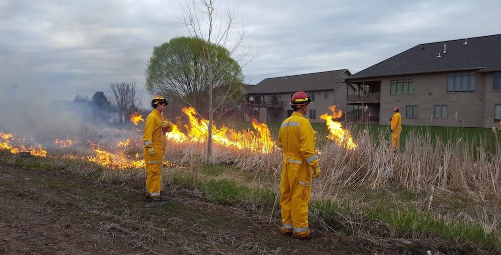 The Kaukauna Fire Department recently completed spring prescribed burns near Fieldcrest Drive in Kaukauna . KFD photo.