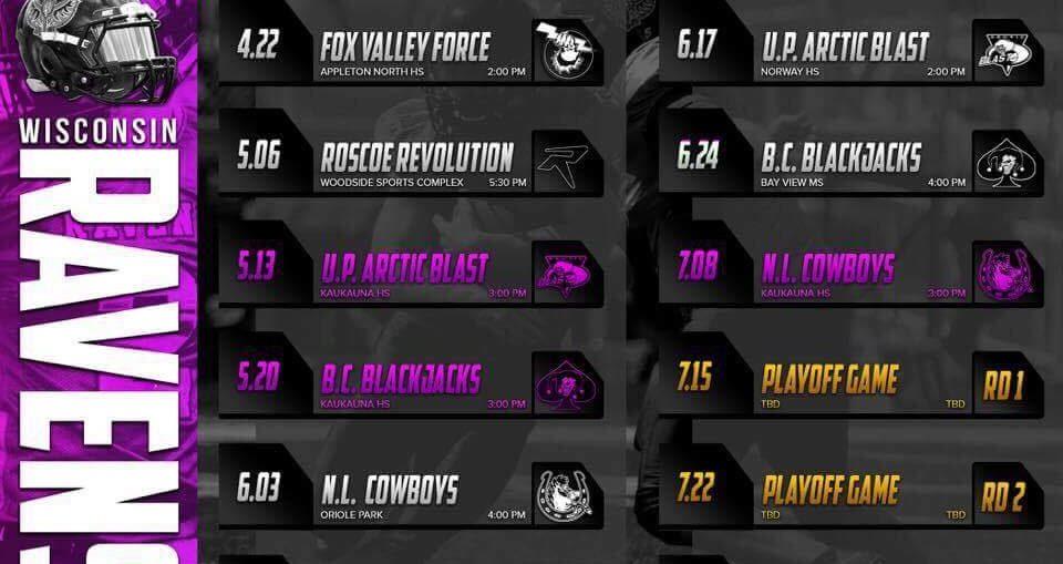 2017 Wisconsin Ravens schedule