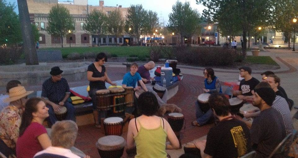 Drum circle file photo, Electric City Experience.