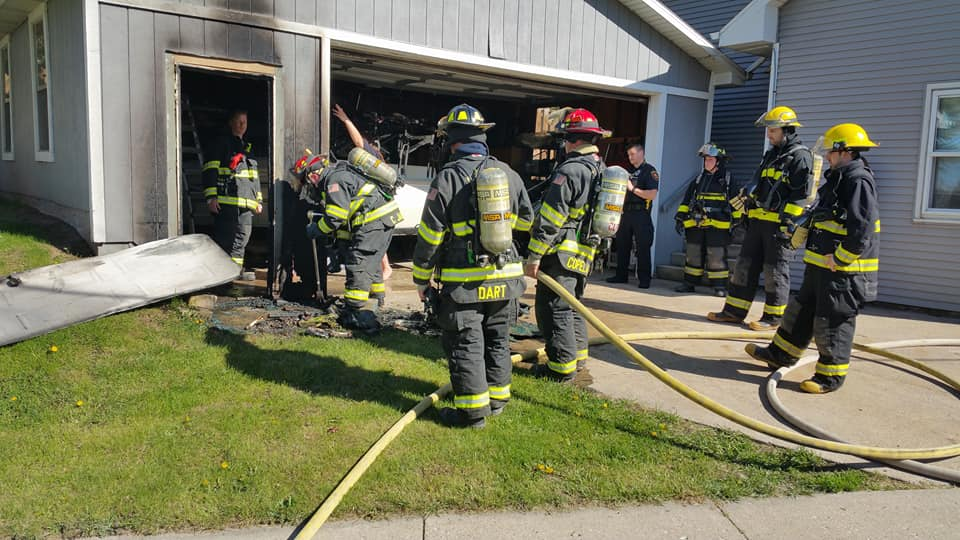 The Combined Locks Fire Department responds to a May 14, 2017 fire. KLFC photo
