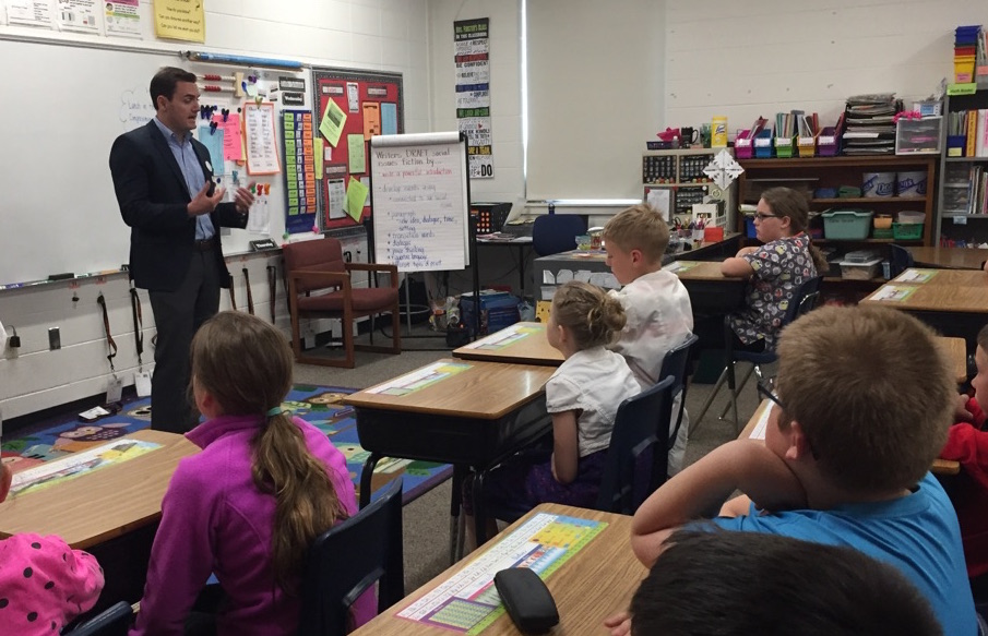 Rep. Mike Gallagher speaks with Mrs. Plutchak's fourth grade class at Electa Quinney Elementary School in Kaukauna. Carrie Forster photo.