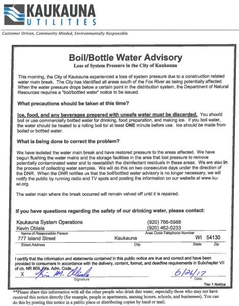 Water advisory, Kaukauna Utilities, June 26, 2017