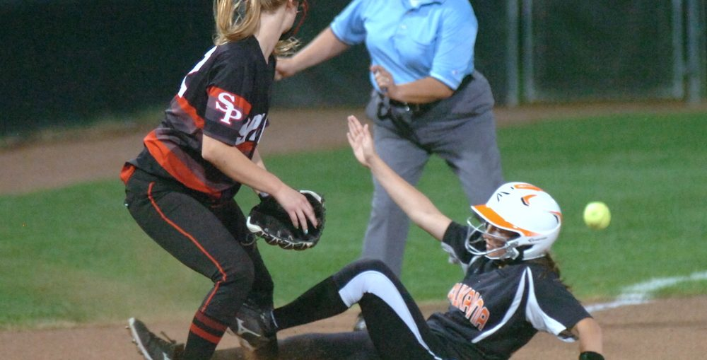 Kaukauna's Ally Isselmann is safe at third during the Ghosts 3-0 state semifinal win June 9, 2017 over Stevens Point. Dan Plutchak/KCN photo.