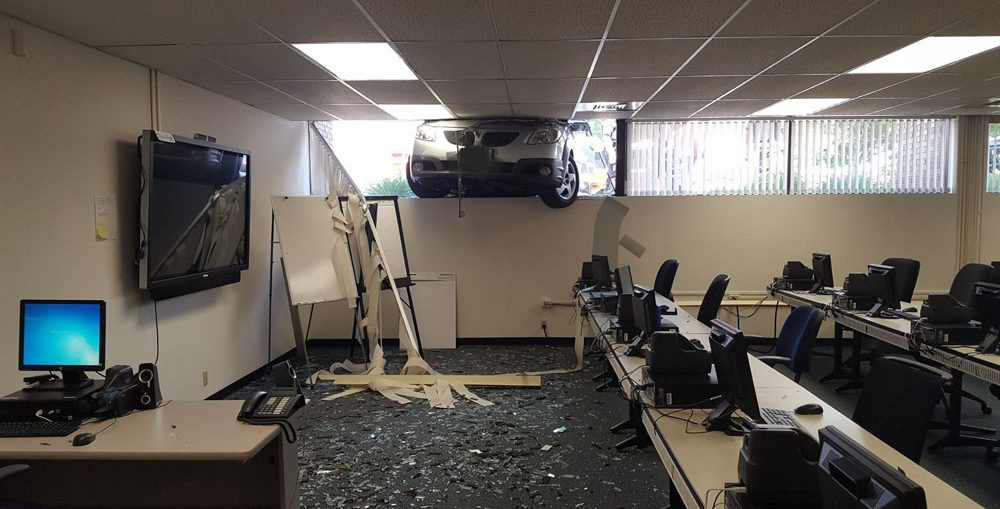 A car crashed through a bank window in Kaukauna July 3, 2017. KFD photo