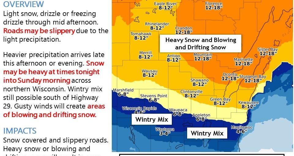 Snow prediction for Nov. 30-31, 2019.