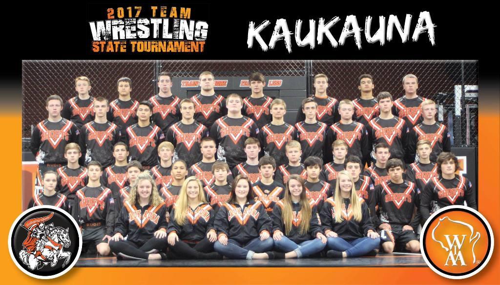 2017 Kaukauna Ghosts WIAA state qualifying wrestling team.