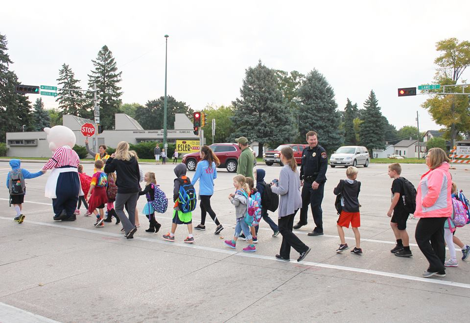 Students walk to school Oct. 5, 2016 during International Walk to School Day. KASD photo.