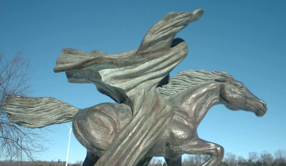 The Kaukauna Galloping Ghost statue in front of Kaukauna Area High School. KCN photo.