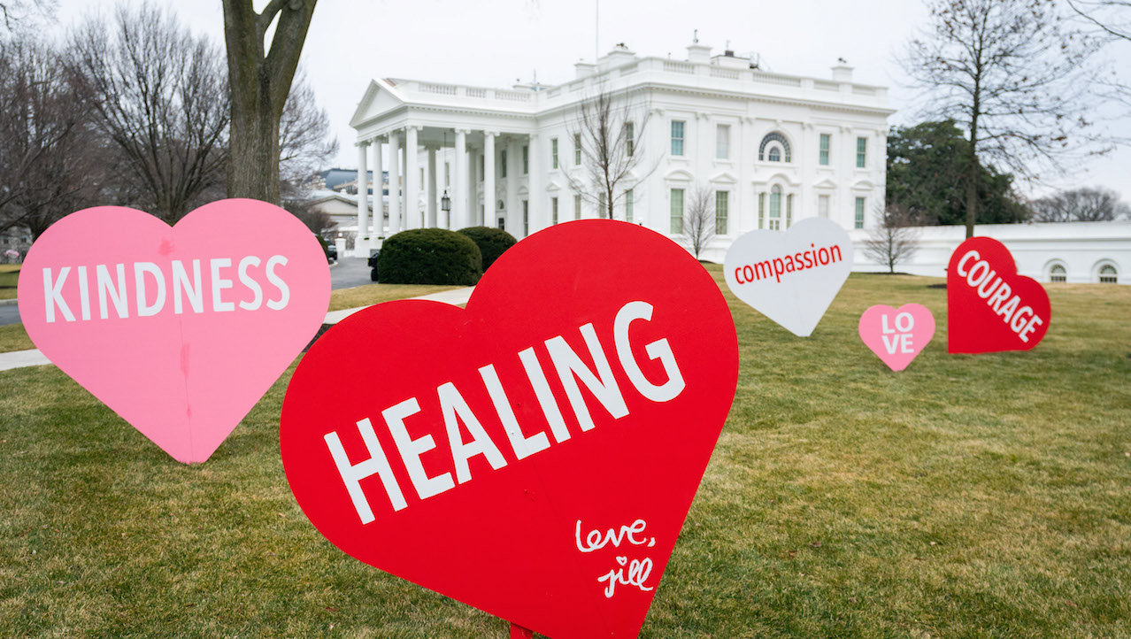 Healing, courage and love: That's the message on the White House lawn today as President Joe Biden and Dr. Jill Biden prepare for Valentine's Day.
