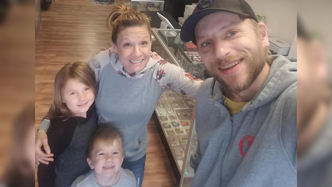 Jake and Megan Novak and family of Collecting Haven in Kaukauna. Photo via @bobbleheadjake on Facebook.