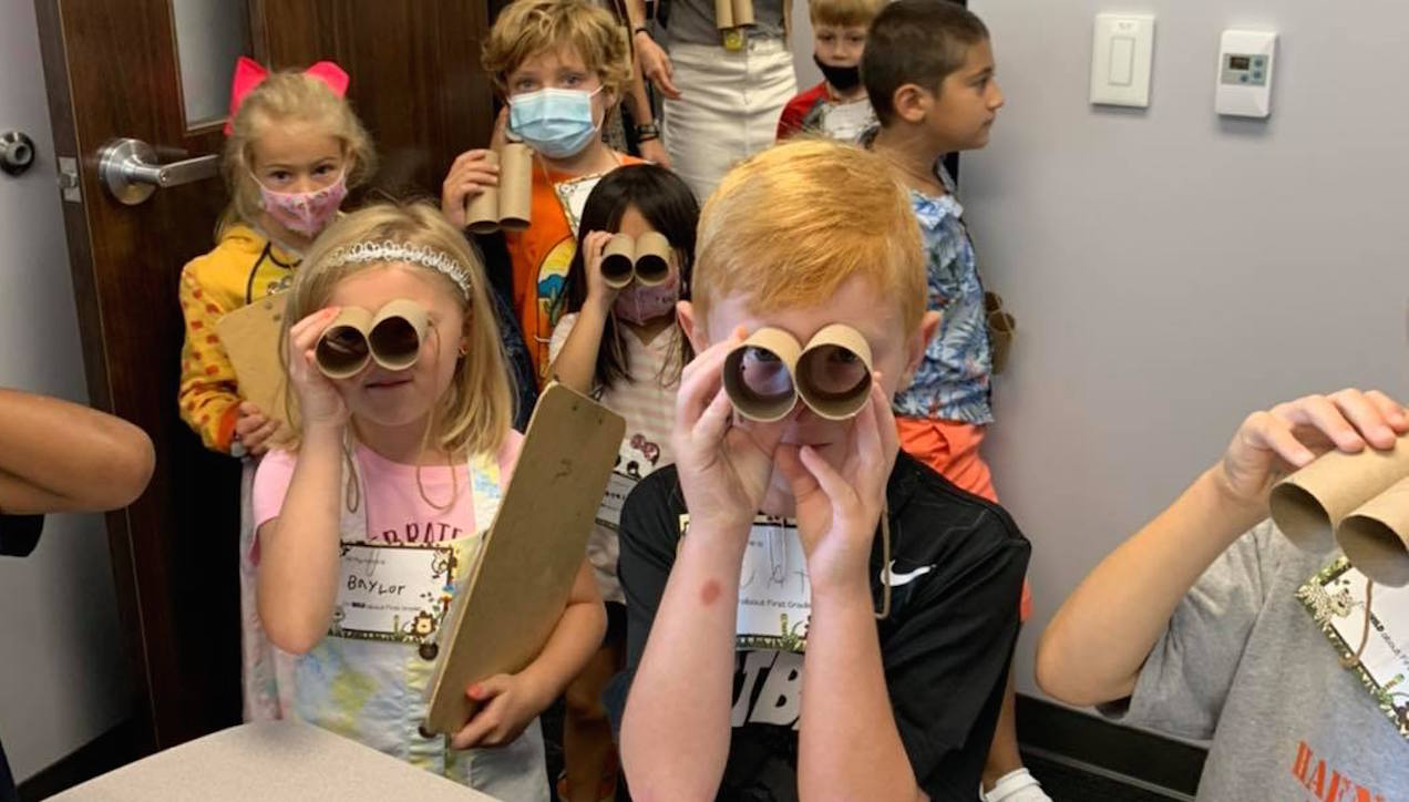First graders at Victor Haen Elementary take part in a safari to explore their new school on the first day of classes. Photo via Facebook.com/HaenHawks