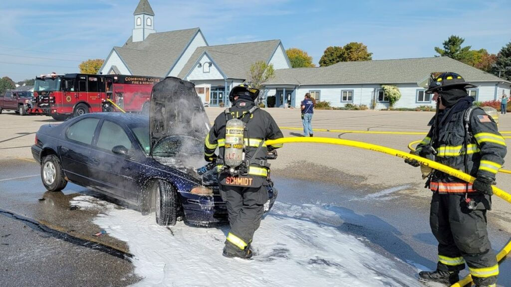 Firefighters put out a car fire Thursday in Combined Locks. Combined Locks Public Safety photo